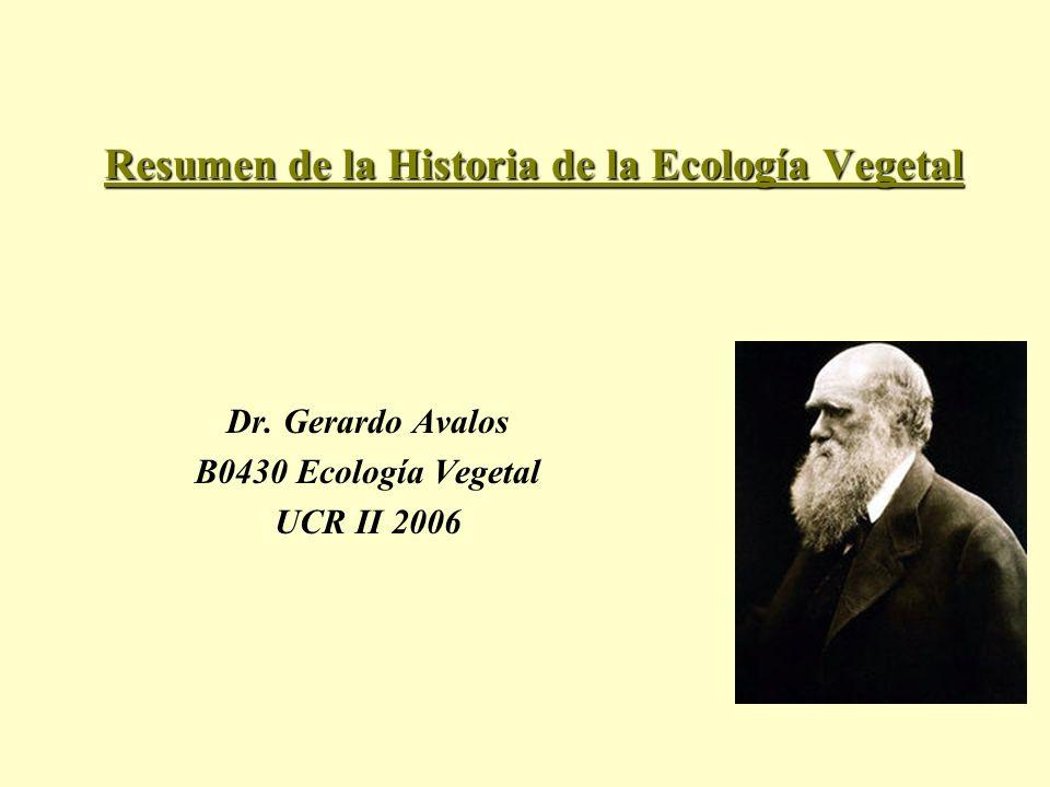 Resumen de la Historia de la Ecología Vegetal