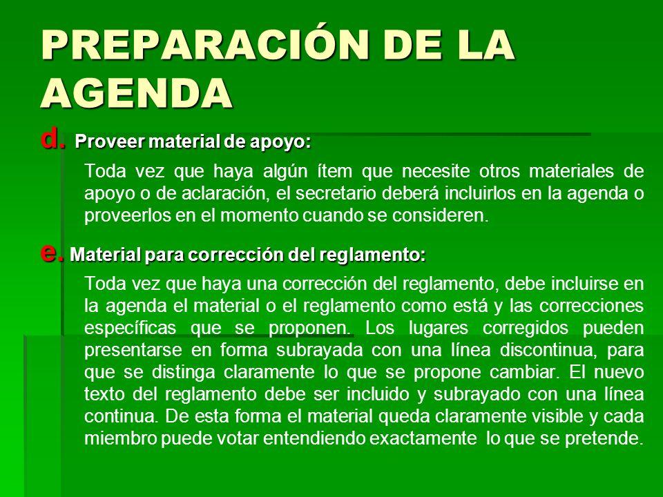 PREPARACIÓN DE LA AGENDA