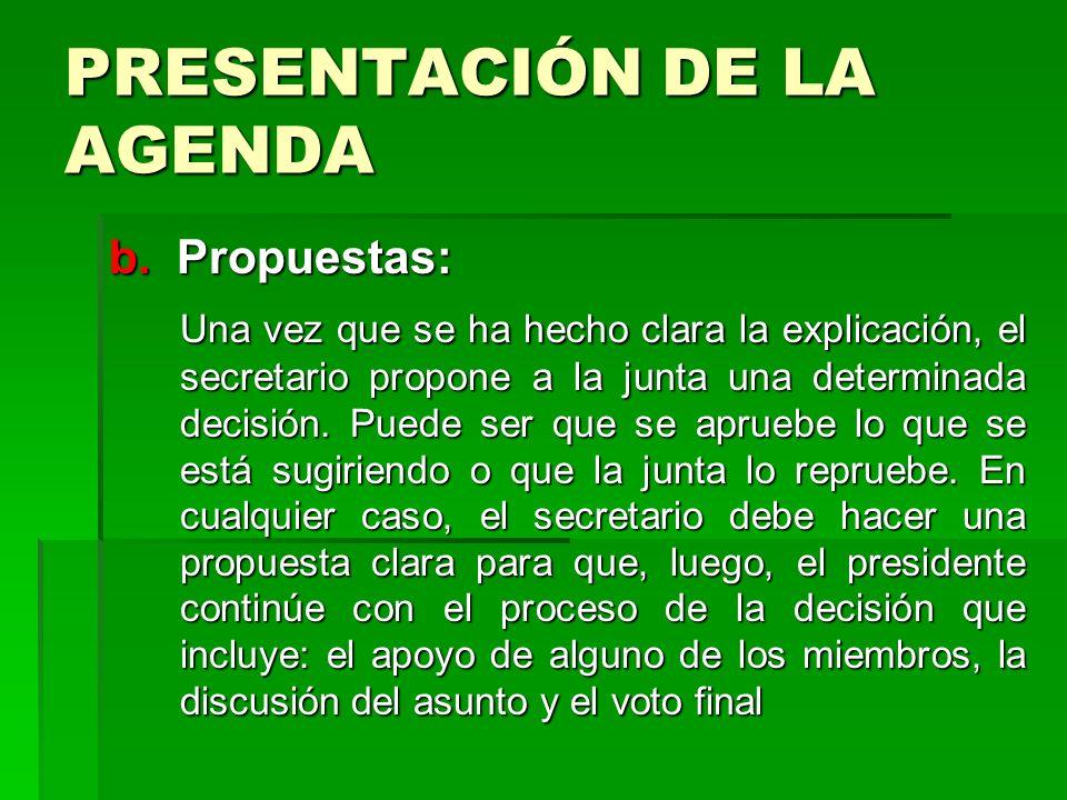 PRESENTACIÓN DE LA AGENDA