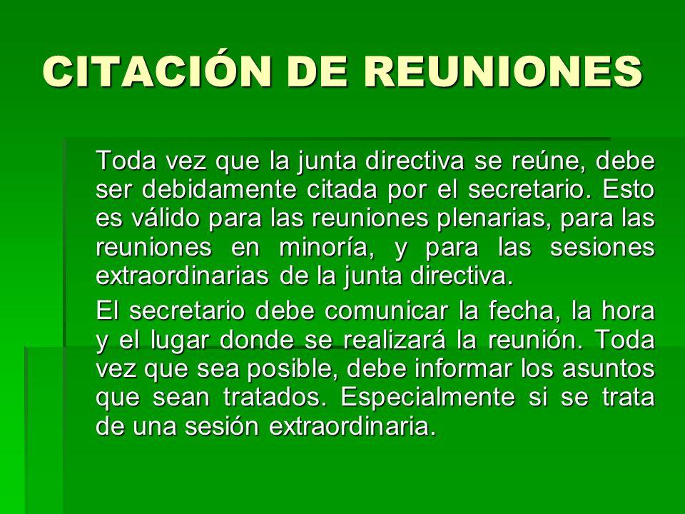 CITACIÓN DE REUNIONES