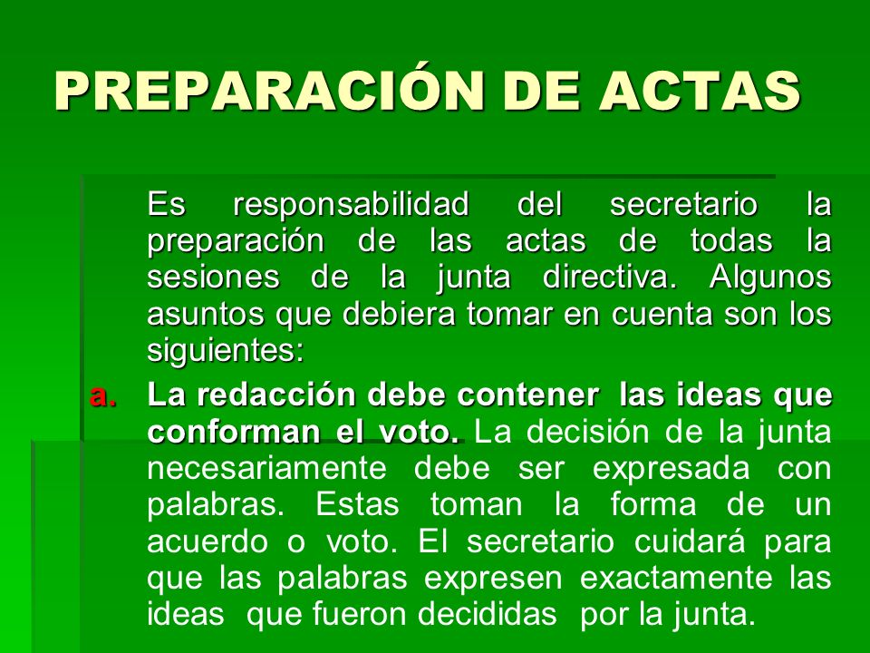PREPARACIÓN DE ACTAS
