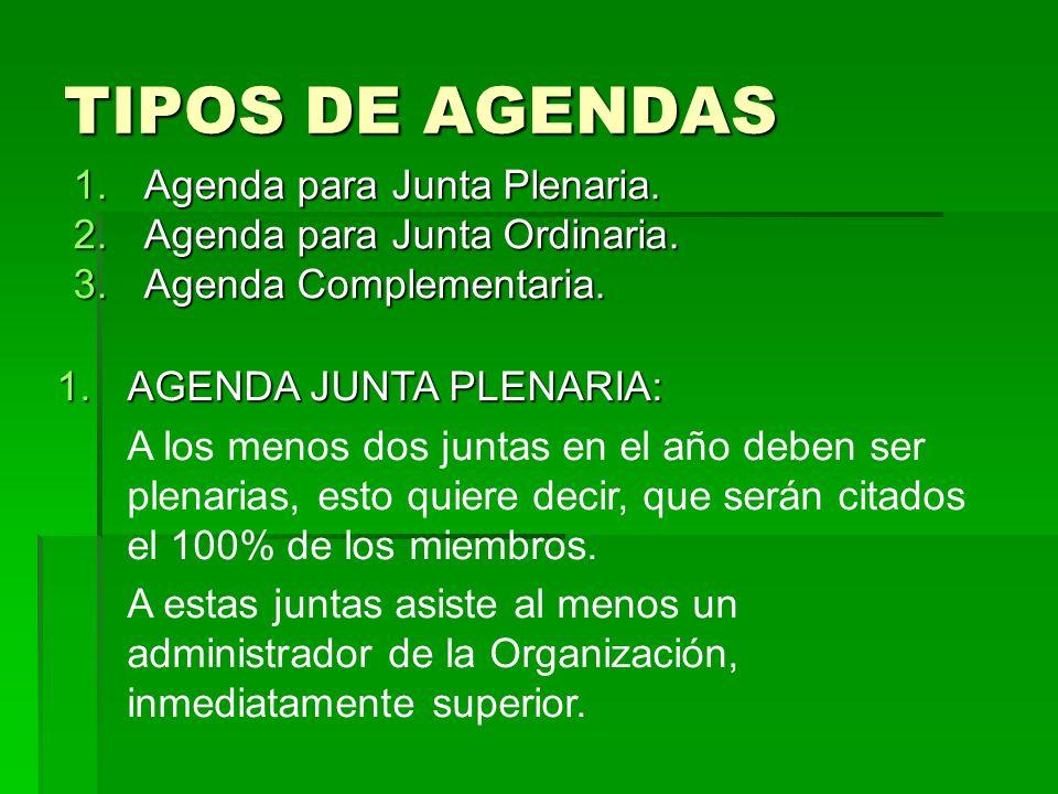 TIPOS DE AGENDAS Agenda para Junta Plenaria.