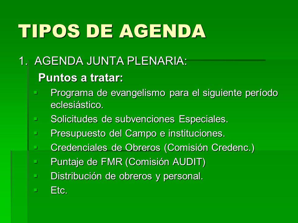 TIPOS DE AGENDA 1. AGENDA JUNTA PLENARIA: Puntos a tratar: