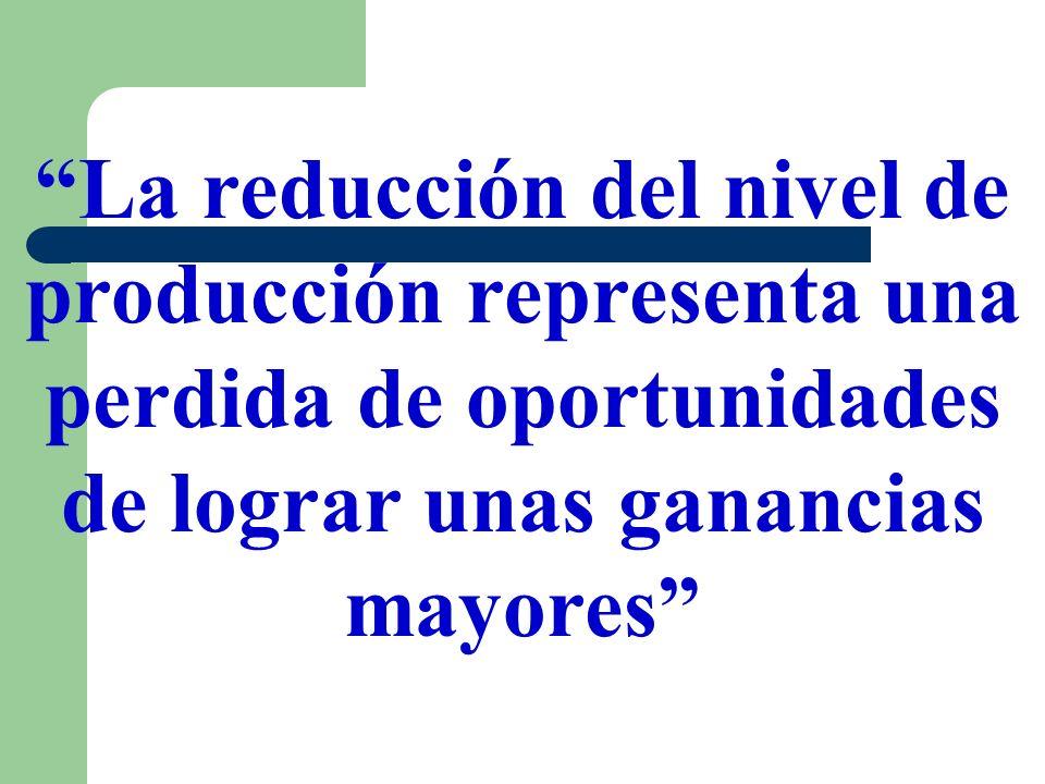 La reducción del nivel de producción representa una perdida de oportunidades de lograr unas ganancias mayores