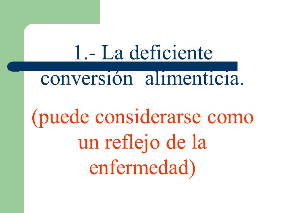 1.- La deficiente conversión alimenticia.