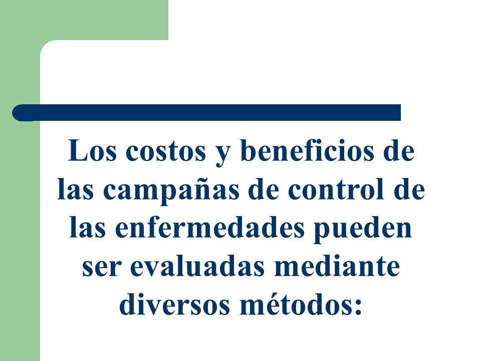 Los costos y beneficios de las campañas de control de las enfermedades pueden ser evaluadas mediante diversos métodos: