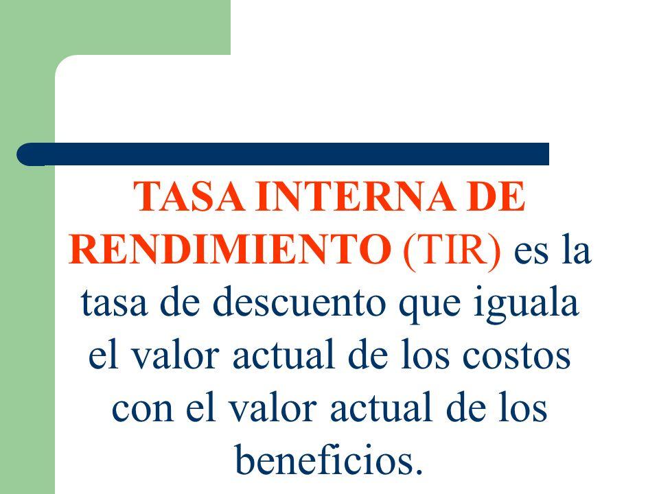 TASA INTERNA DE RENDIMIENTO (TIR) es la tasa de descuento que iguala el valor actual de los costos con el valor actual de los beneficios.