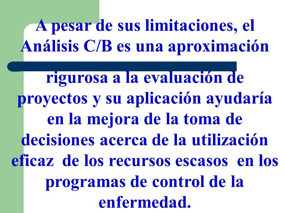 A pesar de sus limitaciones, el Análisis C/B es una aproximación