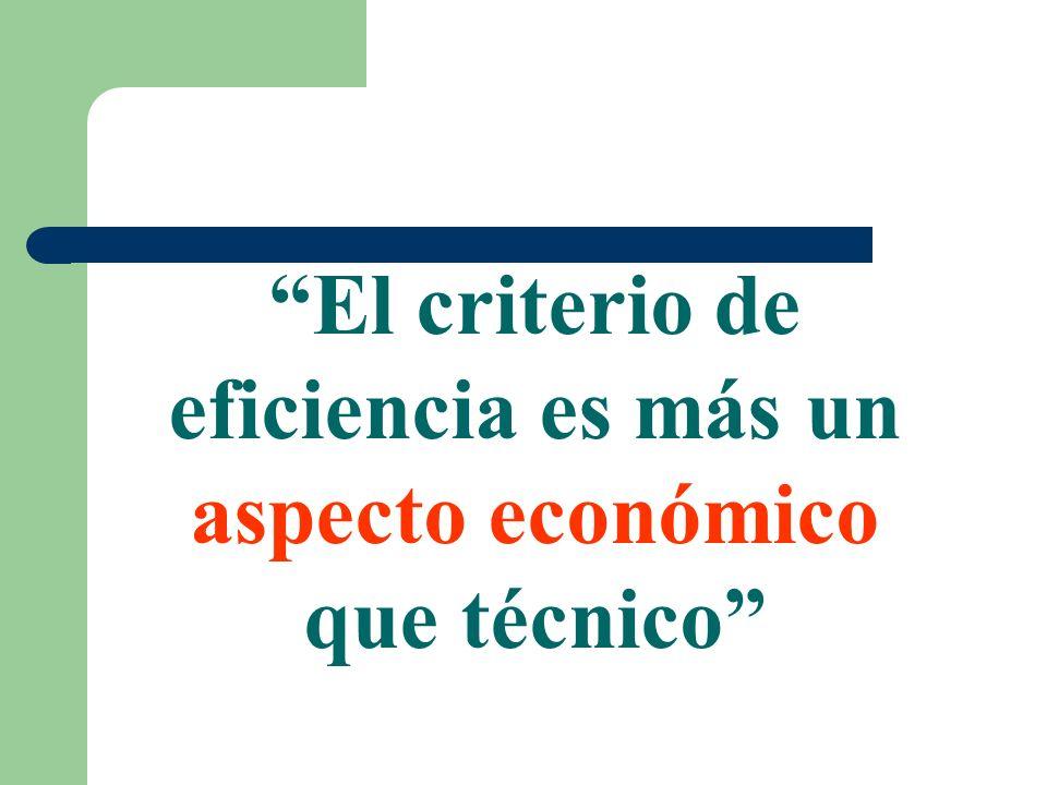 El criterio de eficiencia es más un aspecto económico que técnico