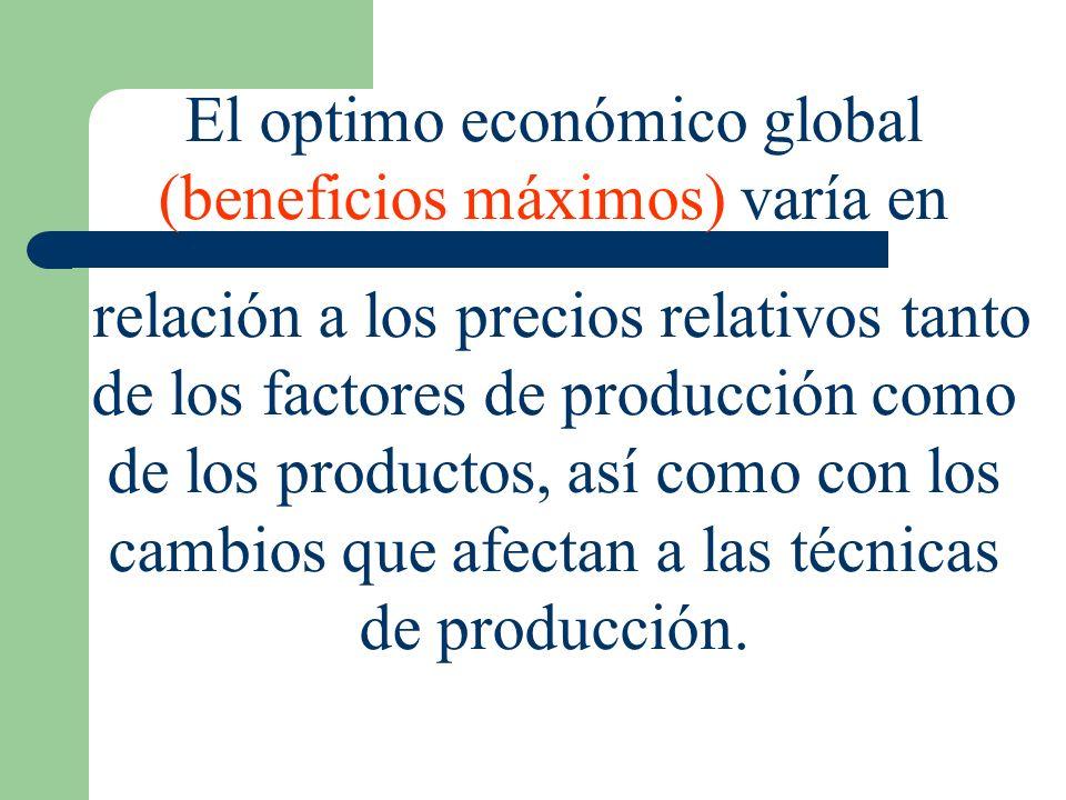 El optimo económico global (beneficios máximos) varía en