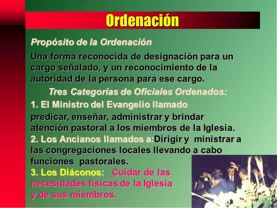 Tres Categorías de Oficiales Ordenados: