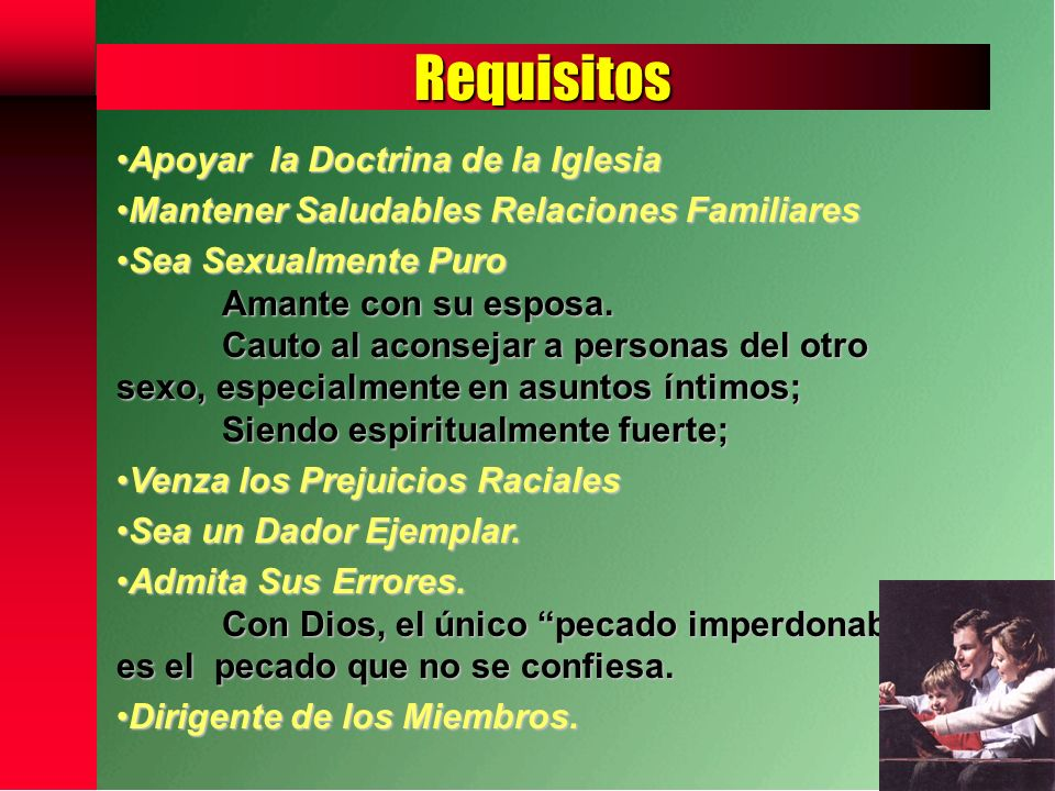 Requisitos Apoyar la Doctrina de la Iglesia