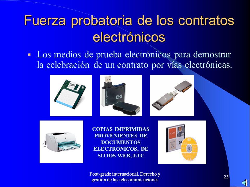 Fuerza probatoria de los contratos electrónicos