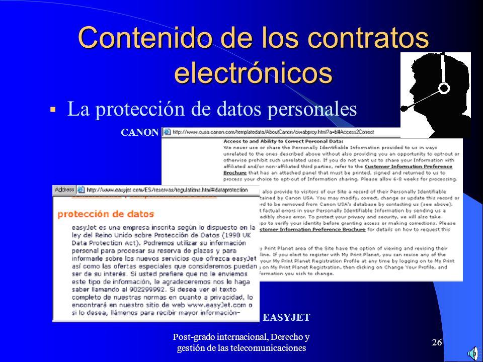 Contenido de los contratos electrónicos