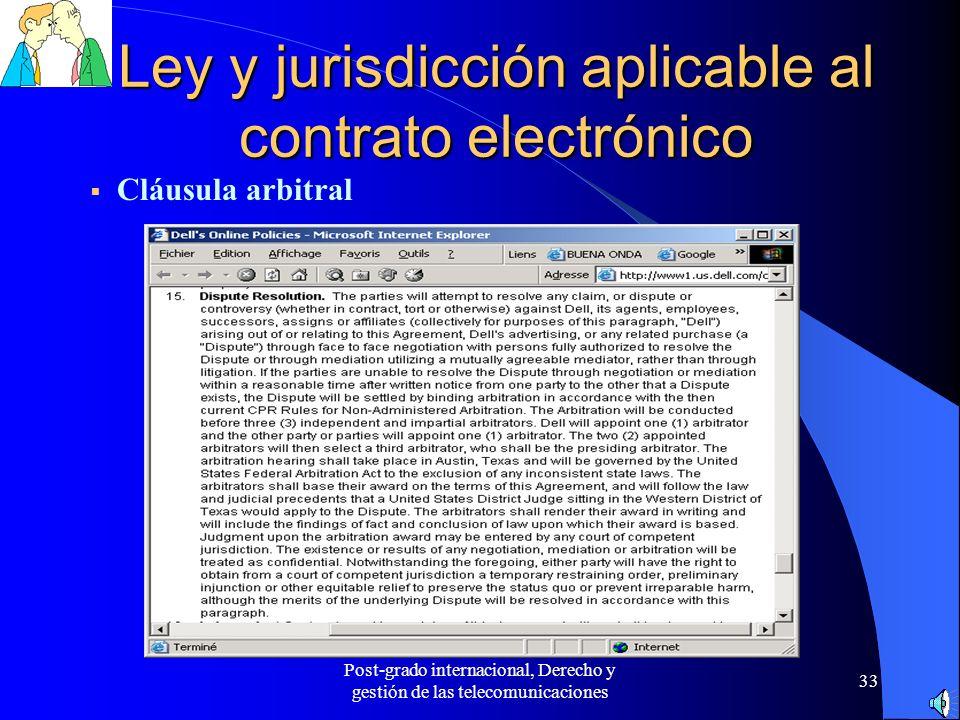 Ley y jurisdicción aplicable al contrato electrónico