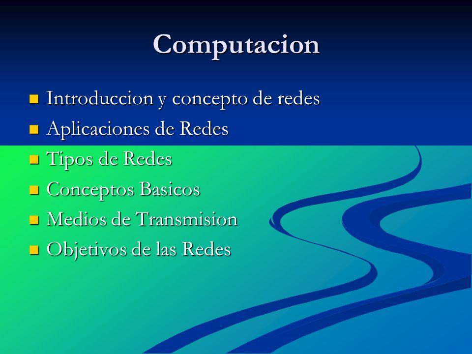 Computacion Introduccion y concepto de redes Aplicaciones de Redes