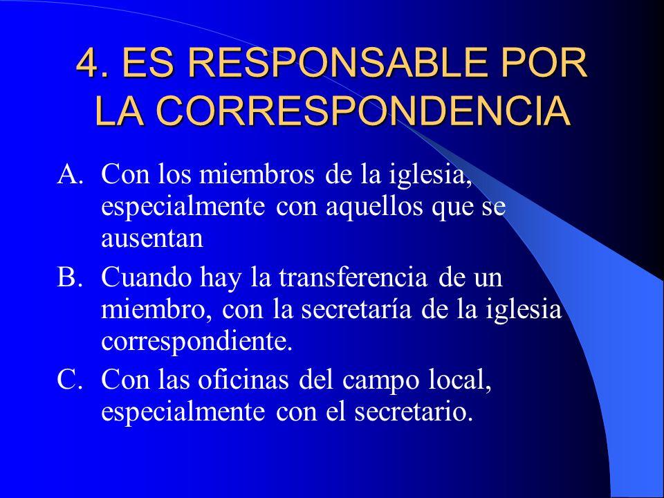 4. ES RESPONSABLE POR LA CORRESPONDENCIA