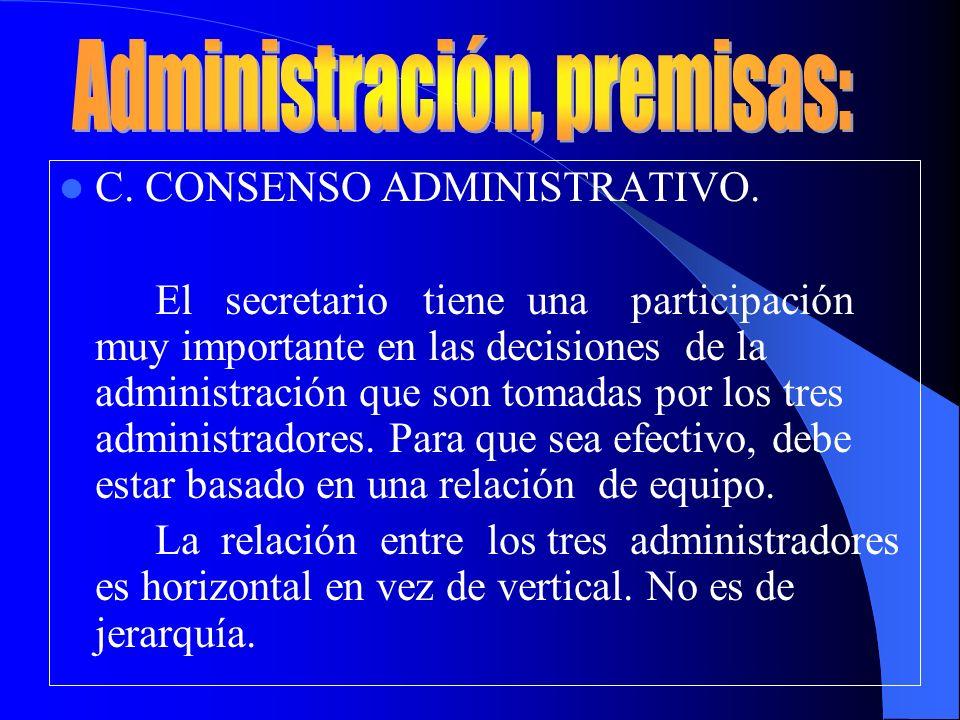 Administración, premisas: