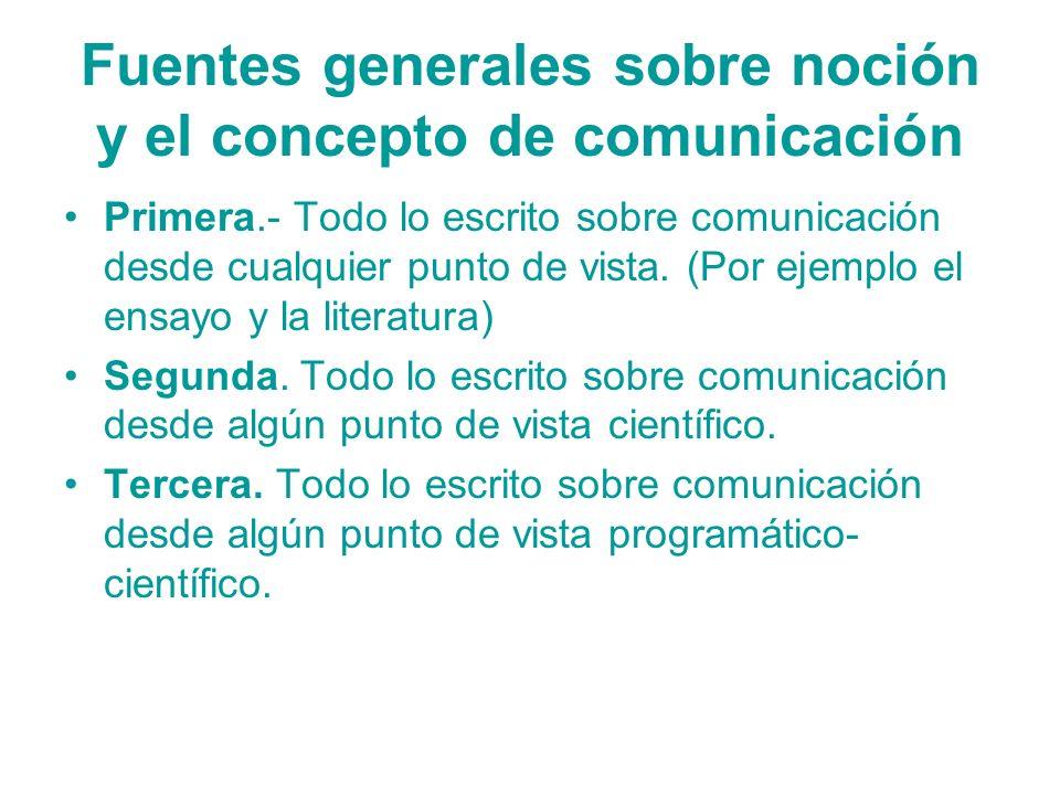 Fuentes generales sobre noción y el concepto de comunicación