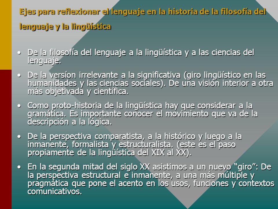 Ejes para reflexionar el lenguaje en la historia de la filosofía del lenguaje y la lingüística