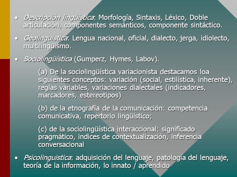 Descripción lingüística: Morfología, Sintaxis, Léxico, Doble articulación, componentes semánticos, componente sintáctico.