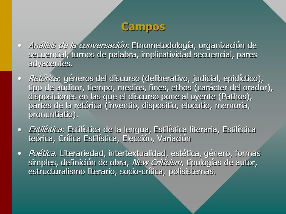 Campos Análisis de la conversación: Etnometodología, organización de secuencial, turnos de palabra, implicatividad secuencial, pares adyacentes.