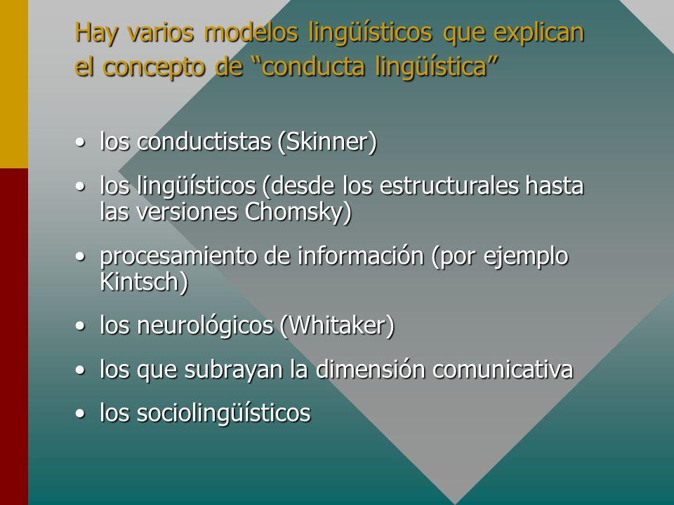 Hay varios modelos lingüísticos que explican el concepto de conducta lingüística
