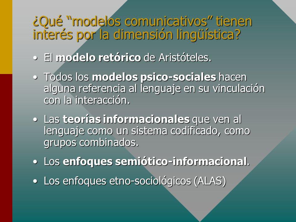 ¿Qué modelos comunicativos tienen interés por la dimensión lingüística