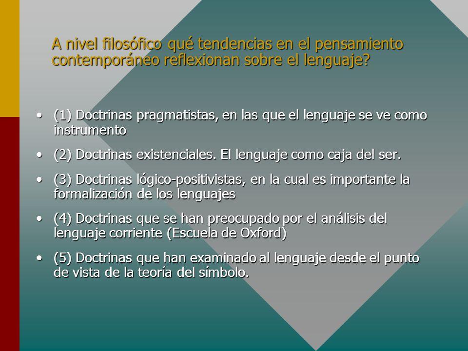 A nivel filosófico qué tendencias en el pensamiento contemporáneo reflexionan sobre el lenguaje