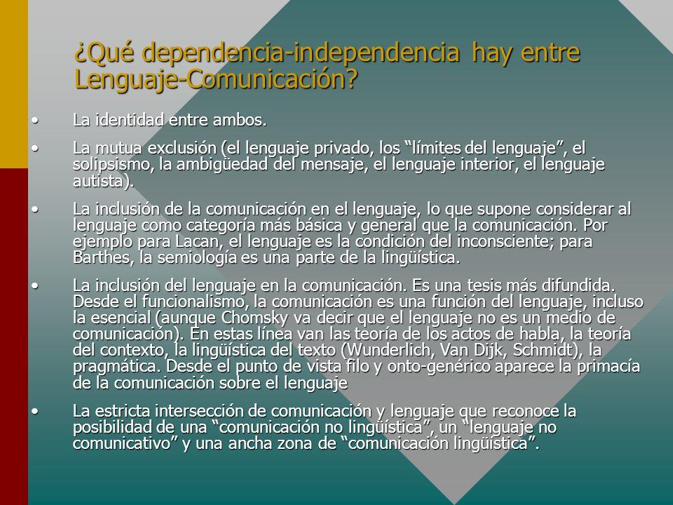 ¿Qué dependencia-independencia hay entre Lenguaje-Comunicación