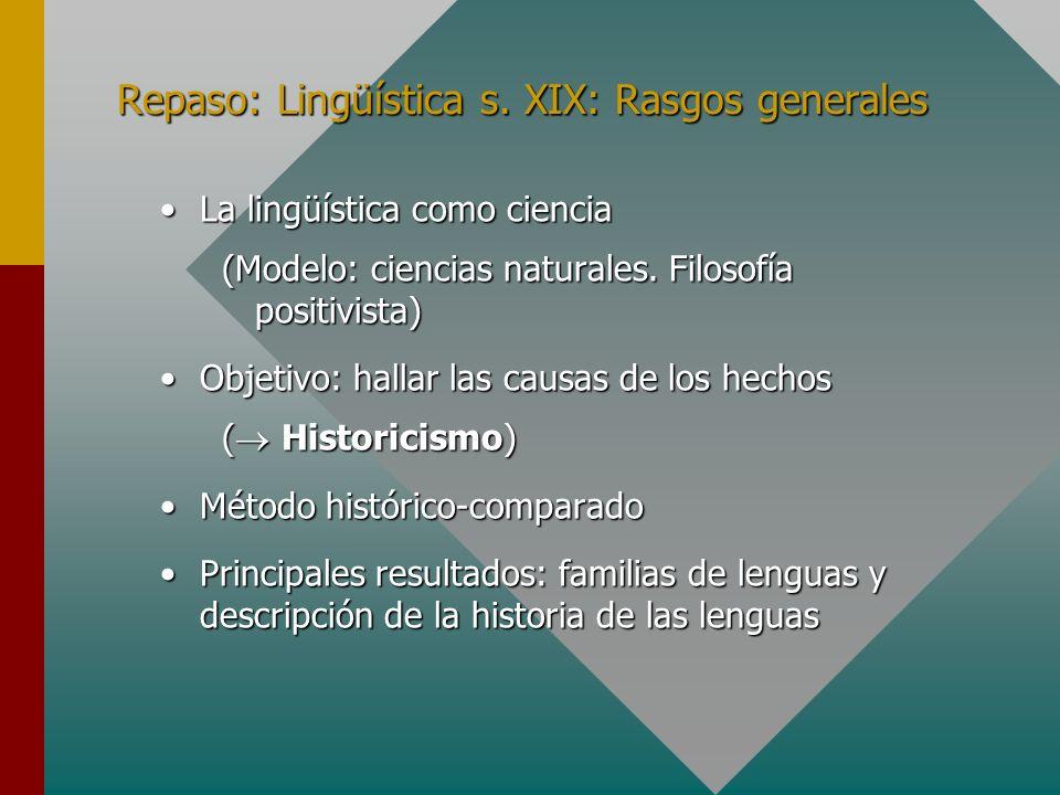 Repaso: Lingüística s. XIX: Rasgos generales