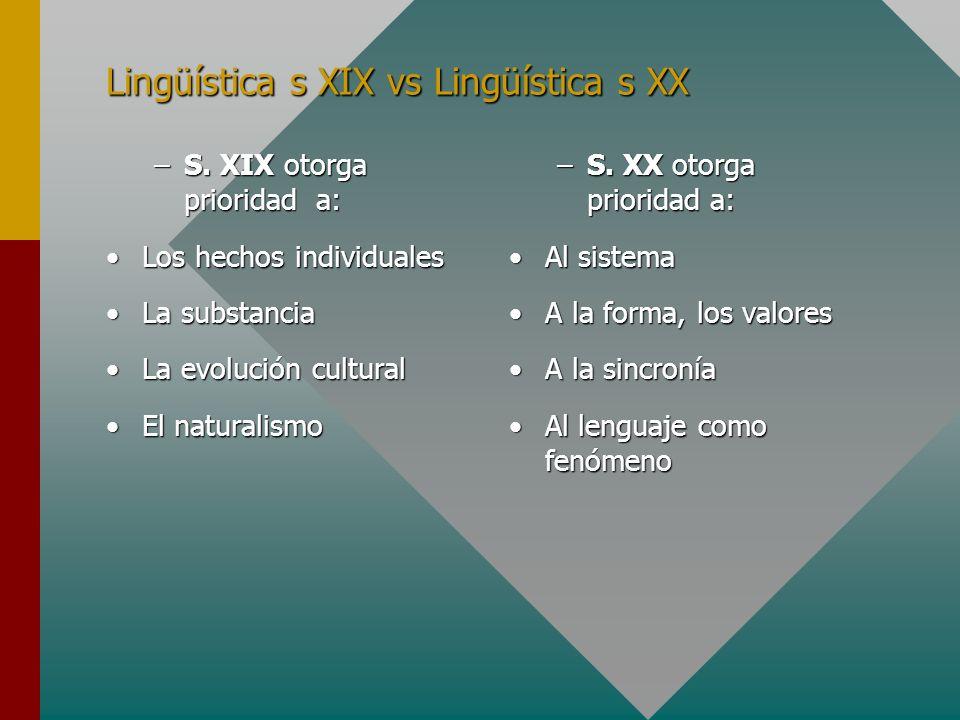 Lingüística s XIX vs Lingüística s XX
