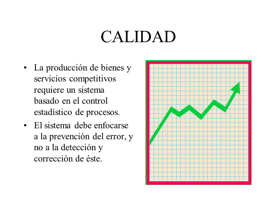 CALIDAD La producción de bienes y servicios competitivos requiere un sistema basado en el control estadístico de procesos.