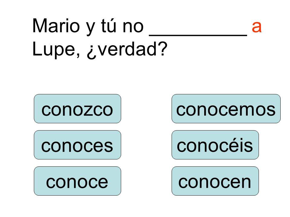 Mario y tú no _________ a Lupe, ¿verdad