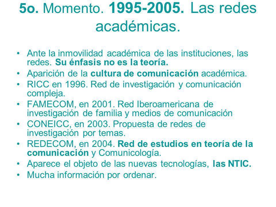 5o. Momento. 1995-2005. Las redes académicas.