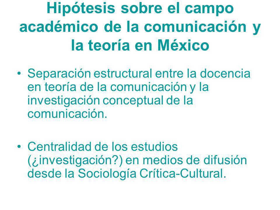 Hipótesis sobre el campo académico de la comunicación y la teoría en México