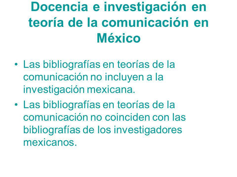 Docencia e investigación en teoría de la comunicación en México
