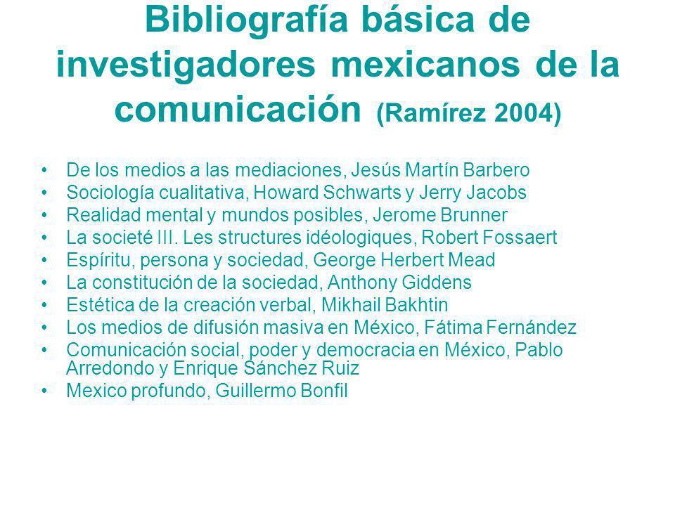 Bibliografía básica de investigadores mexicanos de la comunicación (Ramírez 2004)