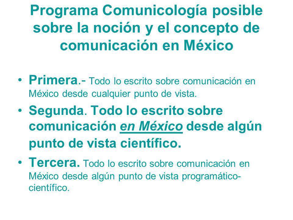 Programa Comunicología posible sobre la noción y el concepto de comunicación en México