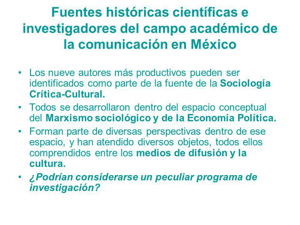 Fuentes históricas científicas e investigadores del campo académico de la comunicación en México