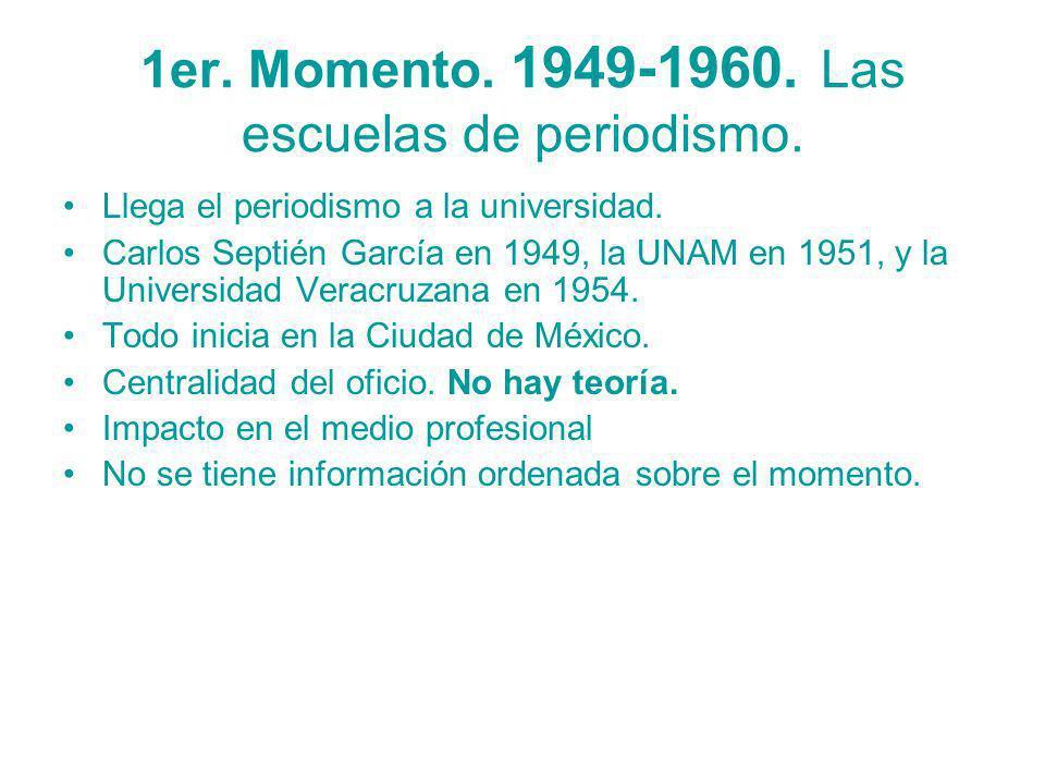 1er. Momento. 1949-1960. Las escuelas de periodismo.