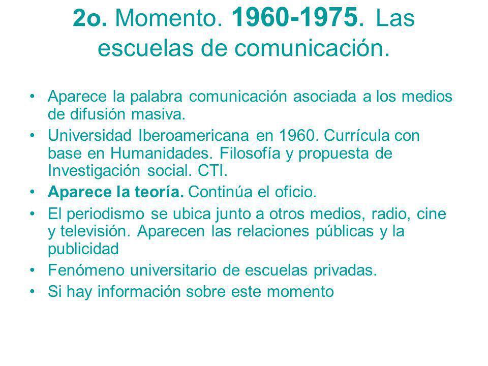 2o. Momento. 1960-1975. Las escuelas de comunicación.