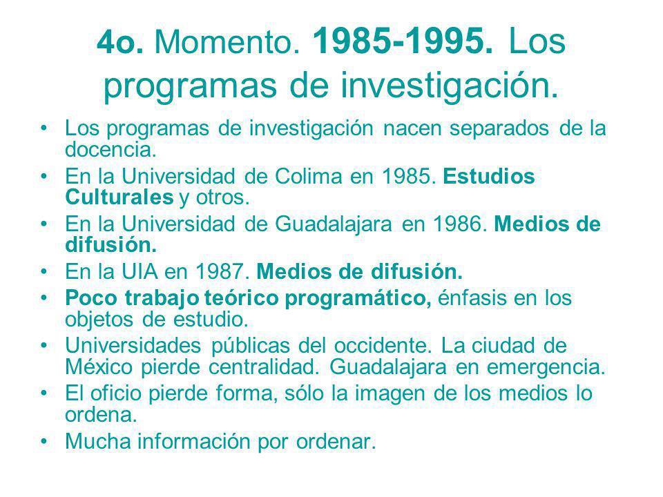 4o. Momento. 1985-1995. Los programas de investigación.
