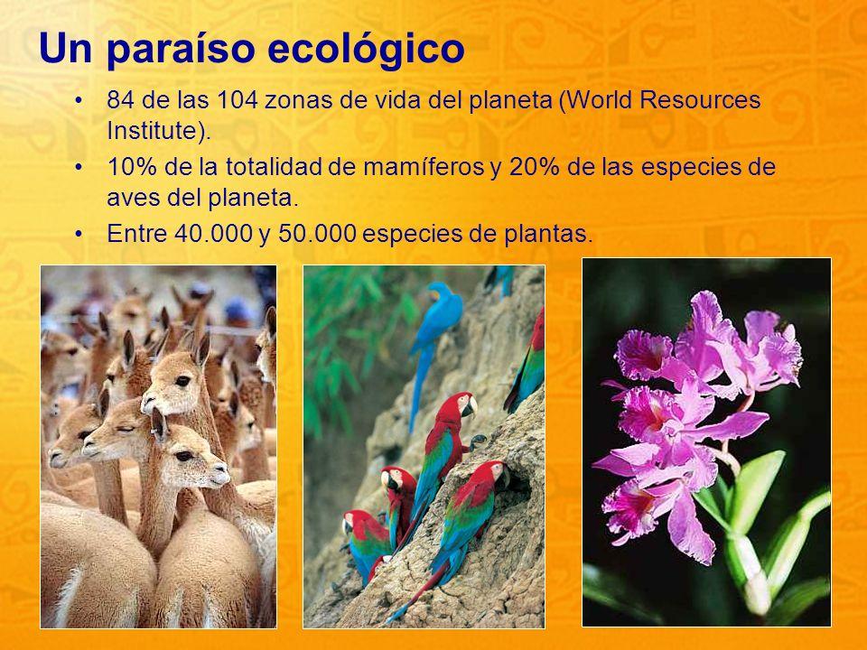 Un paraíso ecológico 84 de las 104 zonas de vida del planeta (World Resources Institute).