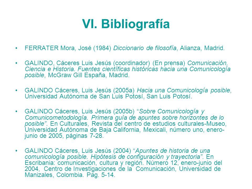 VI. Bibliografía FERRATER Mora, José (1984) Diccionario de filosofía, Alianza, Madrid.