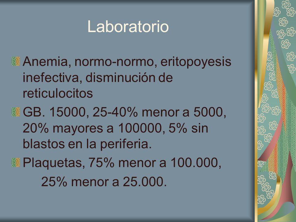 Laboratorio Anemia, normo-normo, eritopoyesis inefectiva, disminución de reticulocitos.