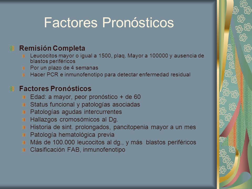 Factores Pronósticos Remisión Completa Factores Pronósticos