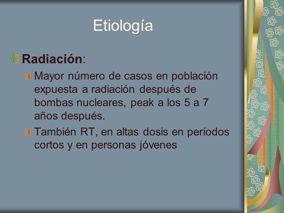 Etiología Radiación: Mayor número de casos en población expuesta a radiación después de bombas nucleares, peak a los 5 a 7 años después.