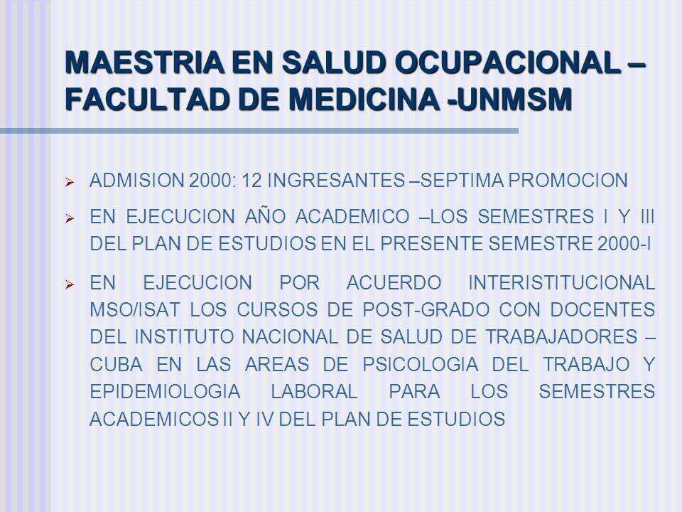 MAESTRIA EN SALUD OCUPACIONAL – FACULTAD DE MEDICINA -UNMSM