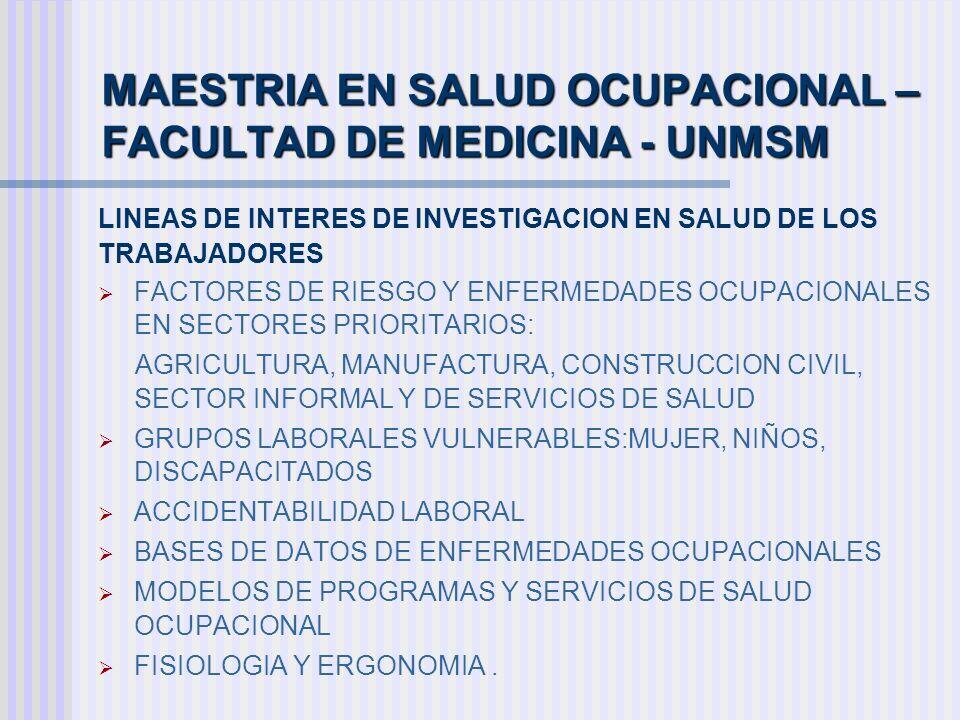 MAESTRIA EN SALUD OCUPACIONAL –FACULTAD DE MEDICINA - UNMSM